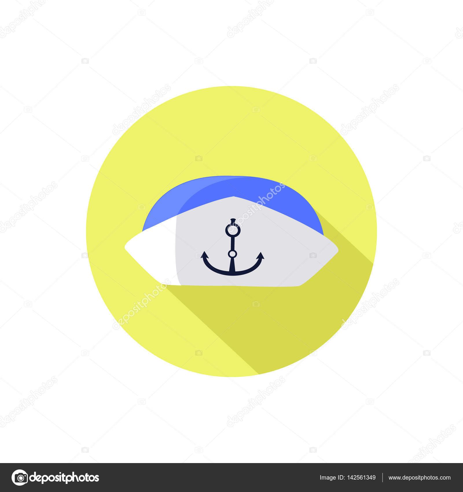 5bcf0e6a432b5 Sombrero de marinero. sobre un blanco en un círculo brillante — Vector de  stock