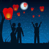 let people silhouette sky lanterns into the sky