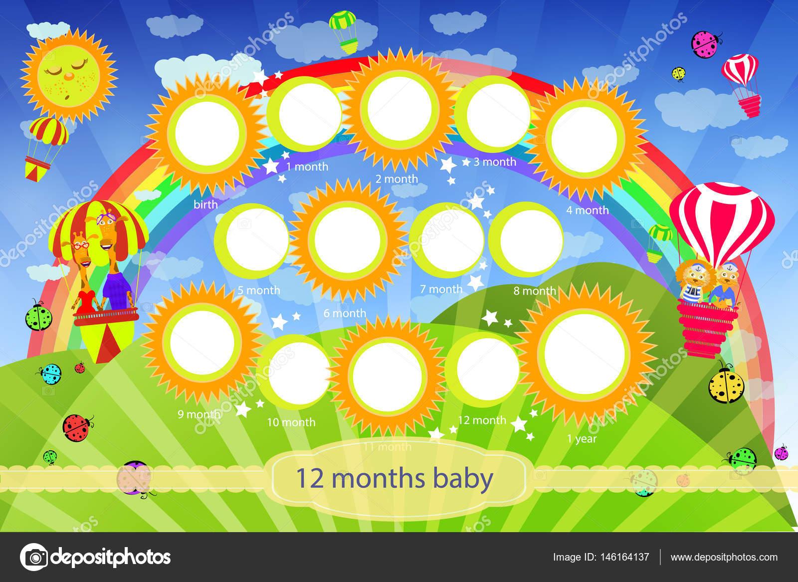 Marco para el niño. Mi primer año de vida — Vector de stock ...