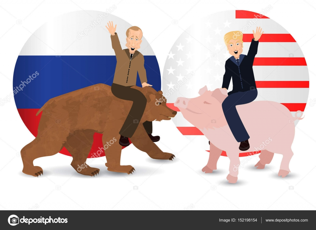Donald Trump And Vladimir Putin Are Riding Stock Vector C Xxxenium7 152198154