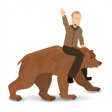 Vladimir Putin riding a bear wild brown. Saddled