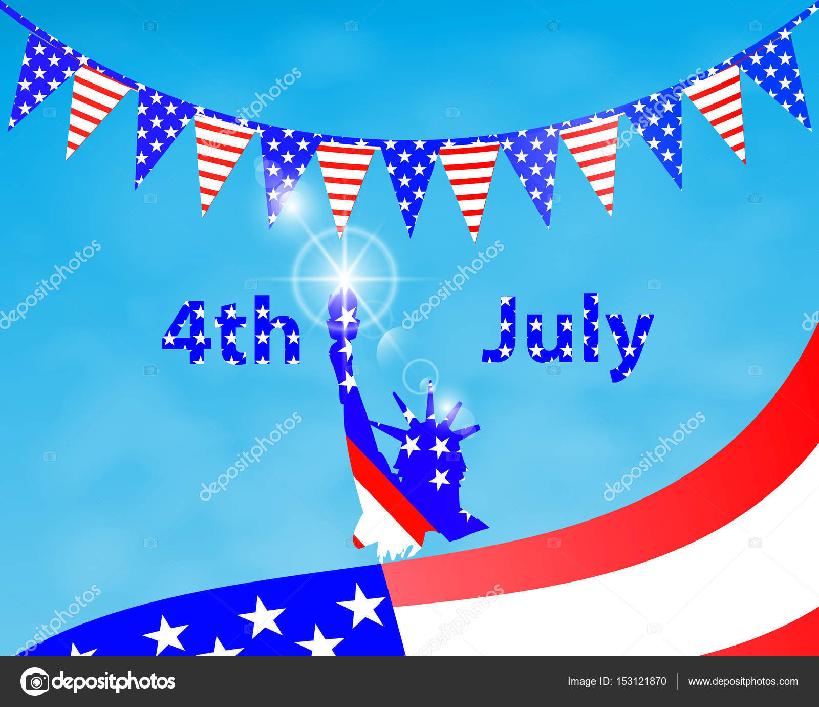 Patriot in a hat and with a flag. Fourth of July. — Stock Vector ...