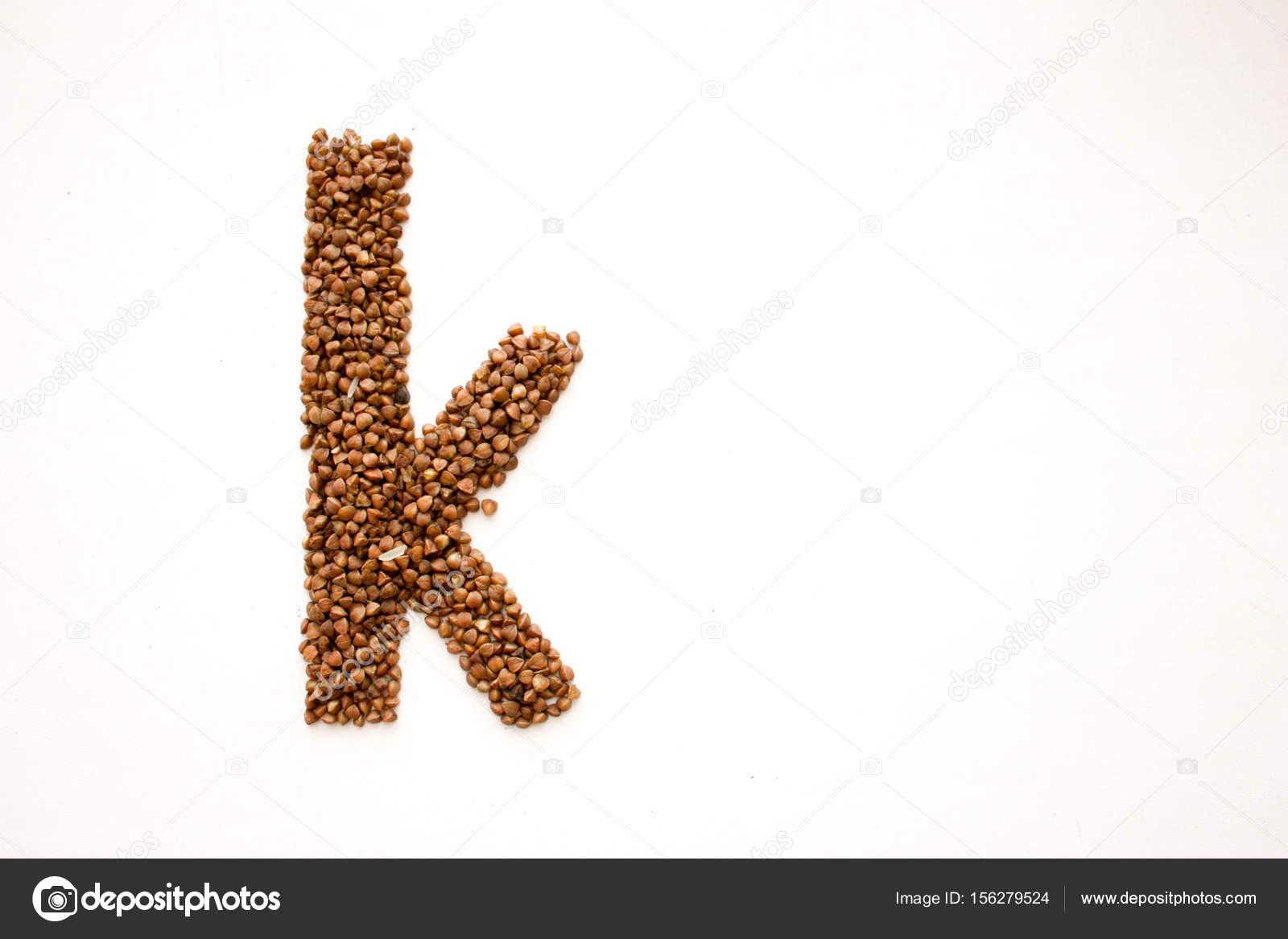 Brief K Englische Alphabet Von Getreide Foto Stockfoto