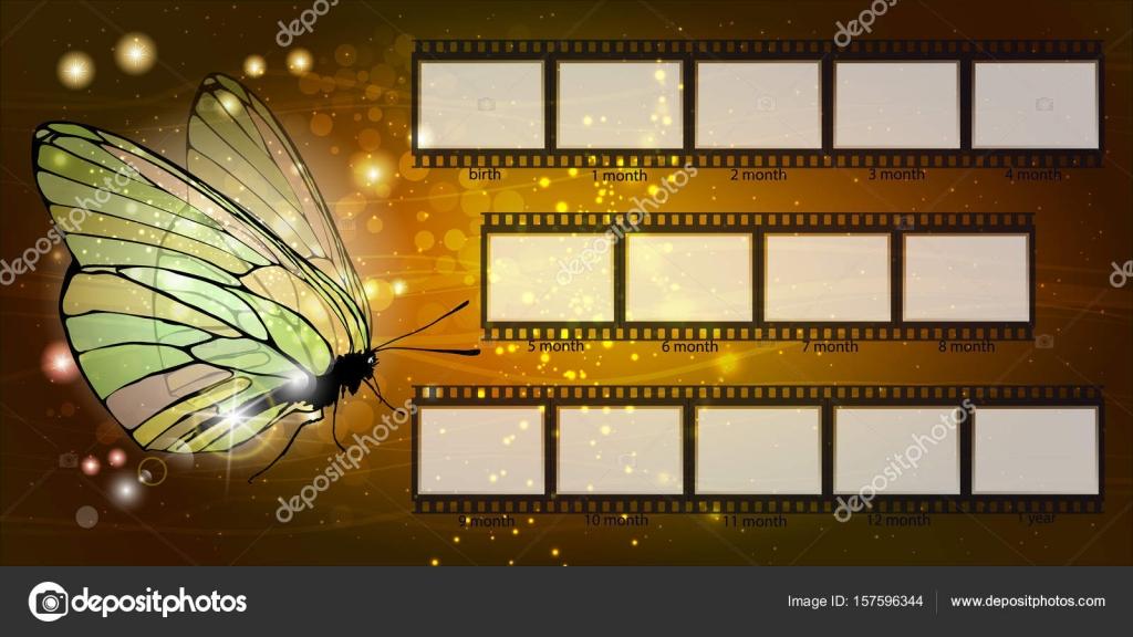 Rahmen. Kind. Schmetterling auf Goldgrund — Stockvektor © xxxenium7 ...