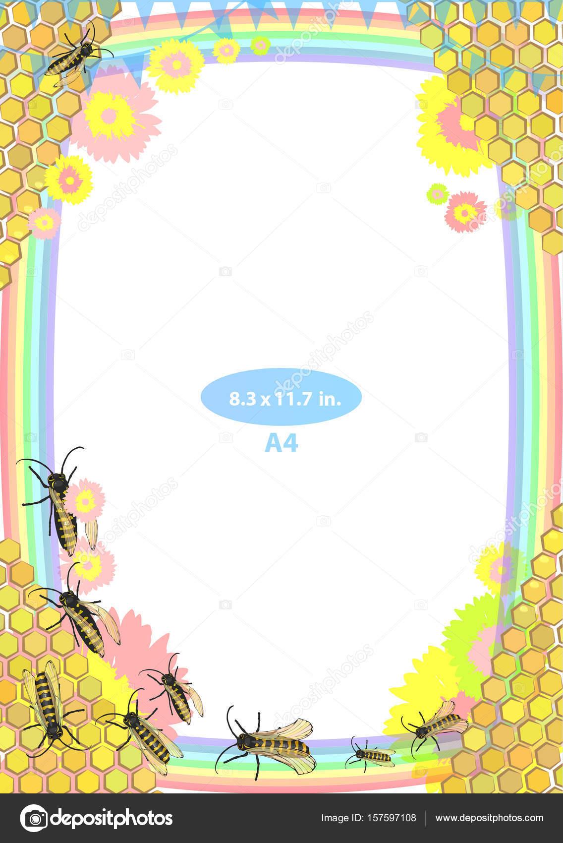 Marco. Niño. Las abejas y la miel. tamaño estándar — Vector de stock ...