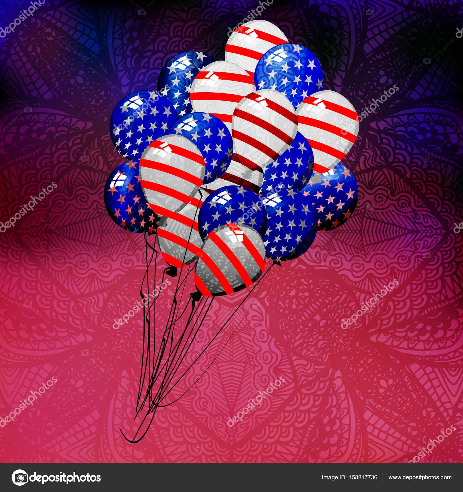 Unabhängigkeitstag USA. Luftballons — Stockvektor © xxxenium7 #158817736