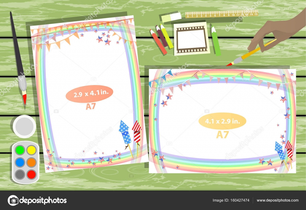 Photo Frame On The Table Horizontal And Vertical Stock Vector