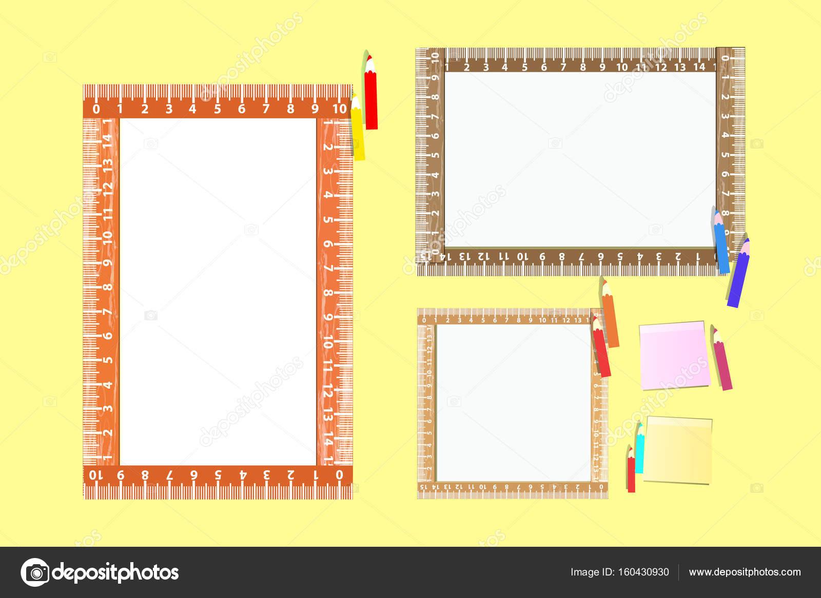 Marco de fotos con una regla. Horizontal, vertical — Archivo ...