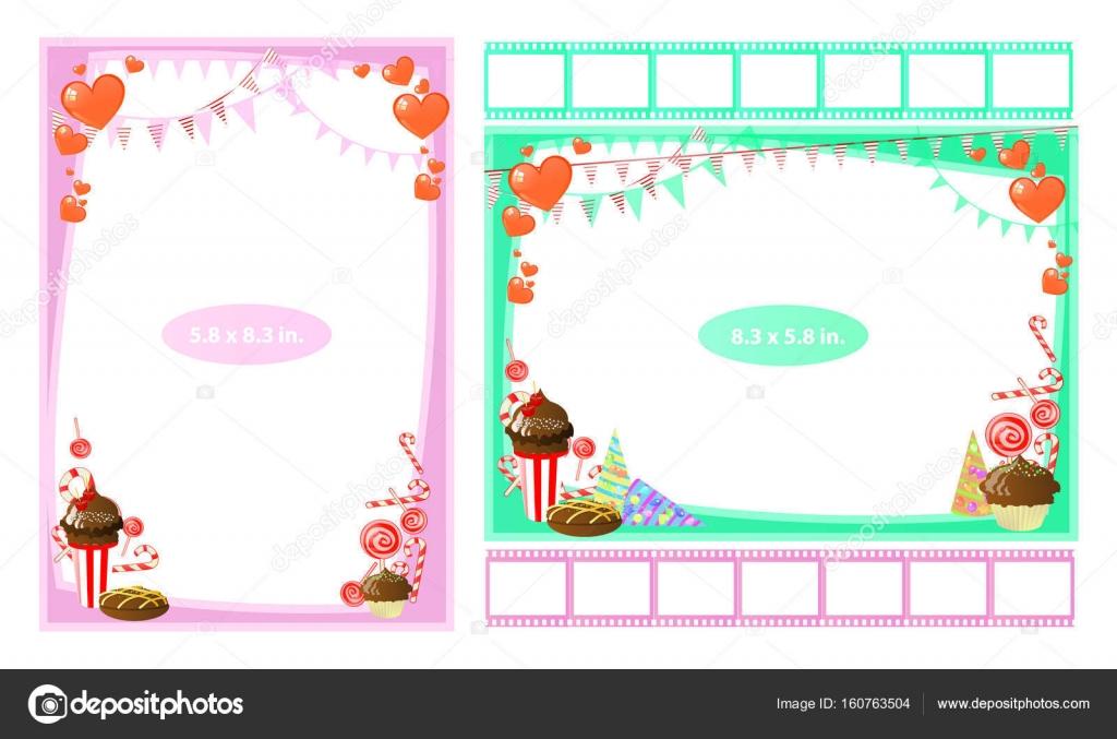 Marco de foto con dulces y caramelos en pulgadas — Archivo Imágenes ...