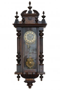 Antique wall clock isolated