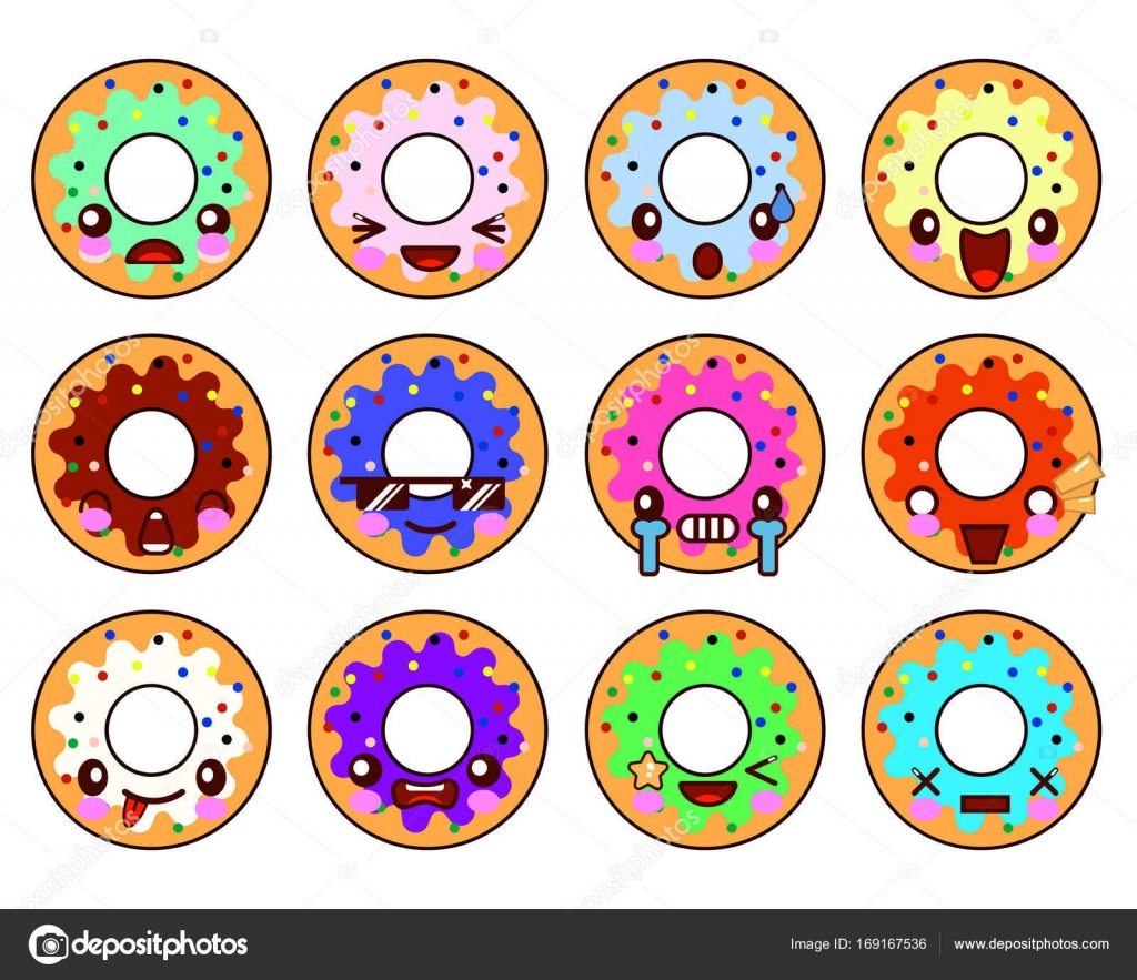 Beignet Sucré Personnage Kawaii Avec Glaçure Emoji Expressions