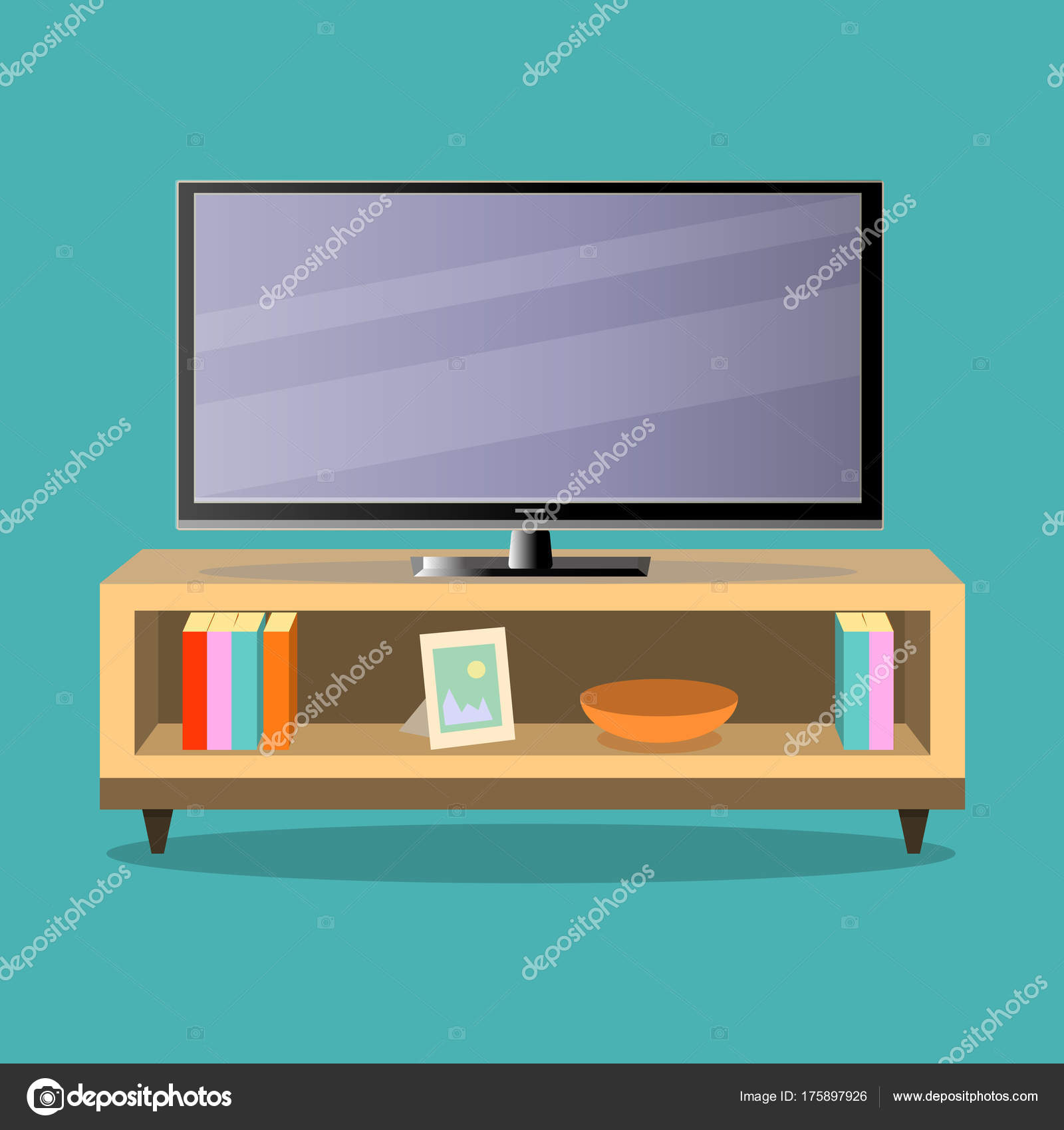 Tv E Mesa De Tv Na Sala De Estar No Backgroundflat Verde Design  -> Sala De Tv Verde