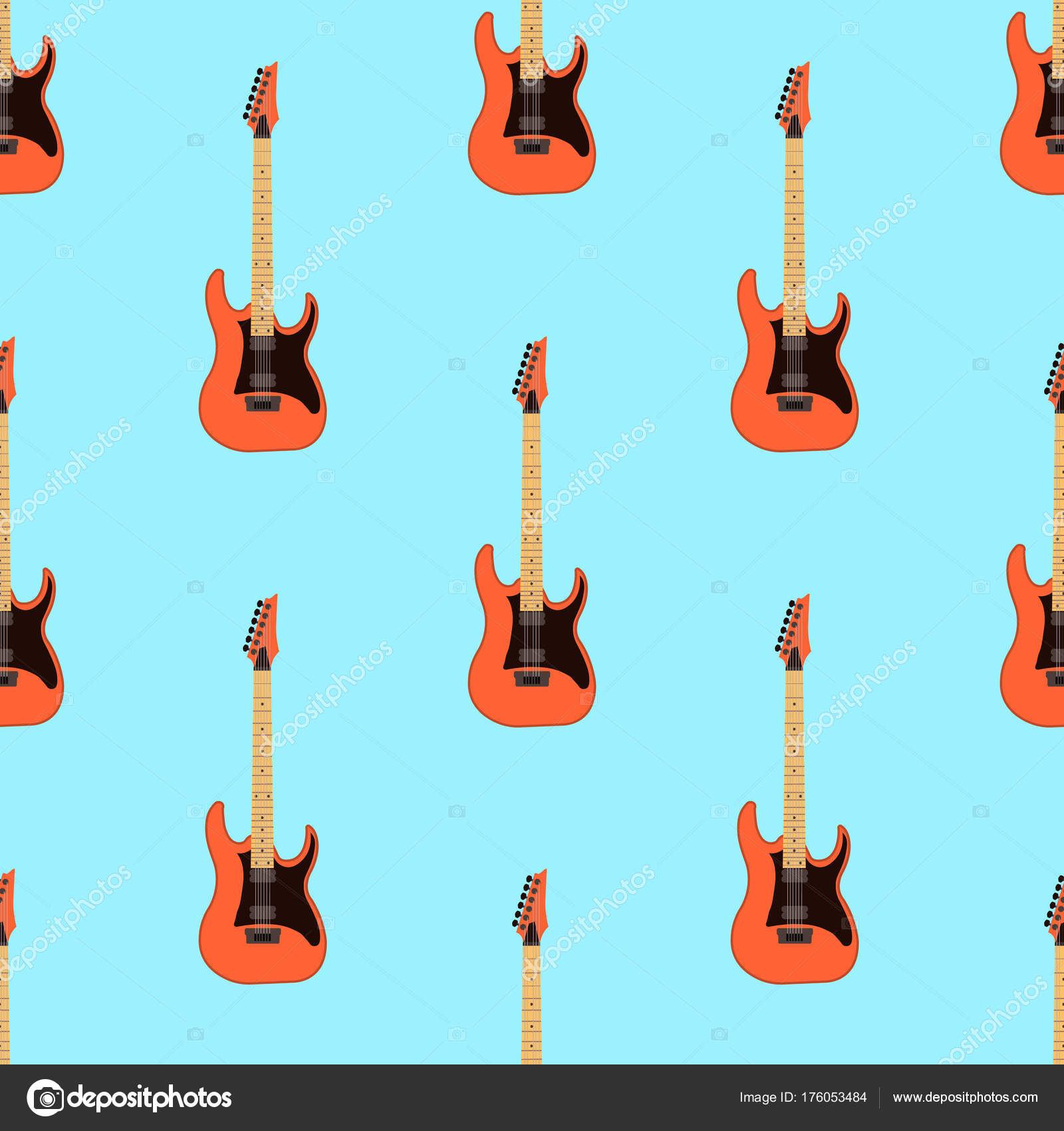 Seamless Electric Guitar Pattern On Light Blue Background Music