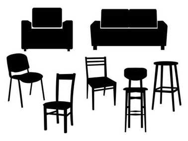 Collection black silhouette of chairs icon interior furniture Old style armchair. Vector flat illustration