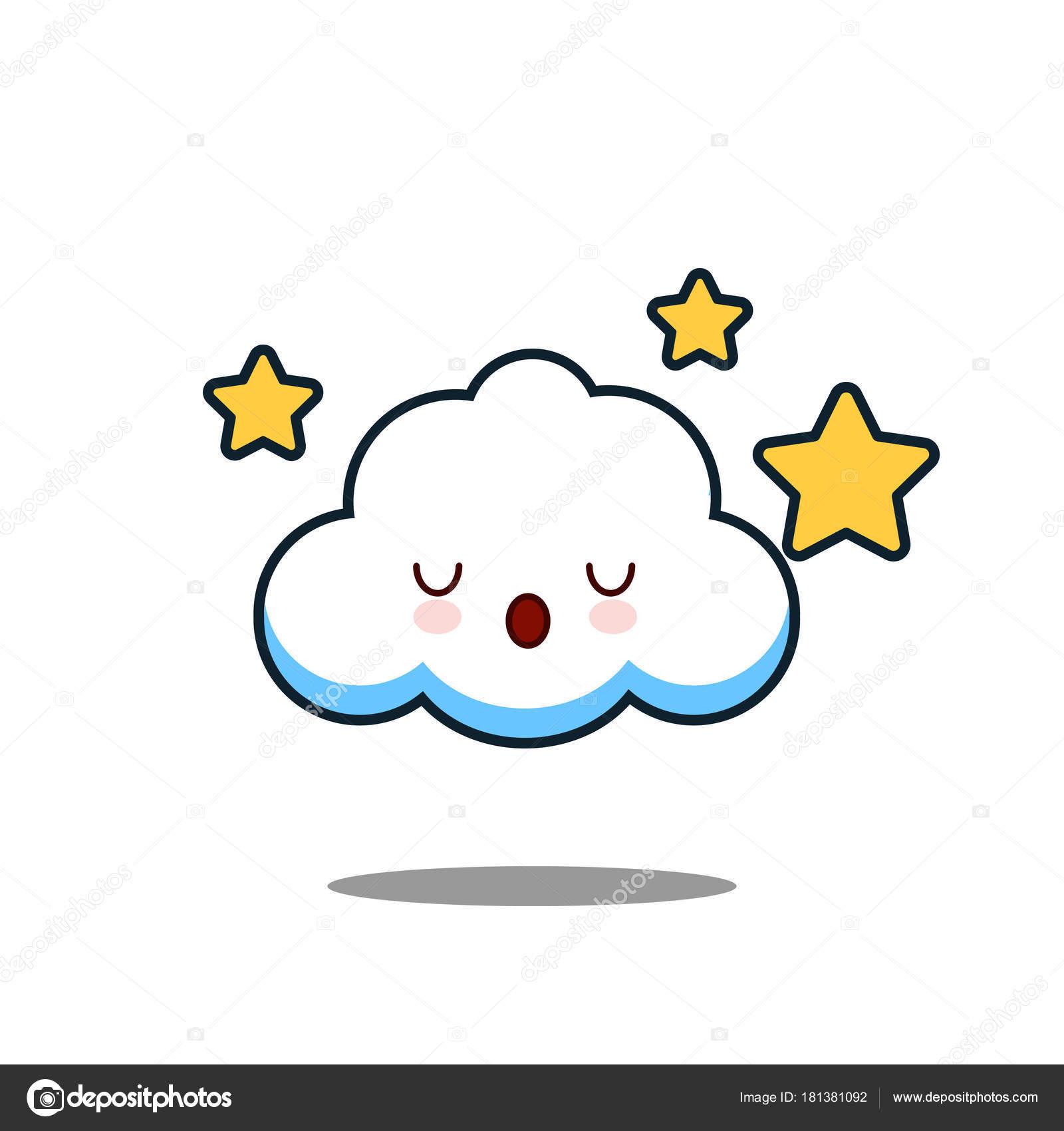 かわいい雲かわいい顔ベクトル イラスト デザイン ストックベクター
