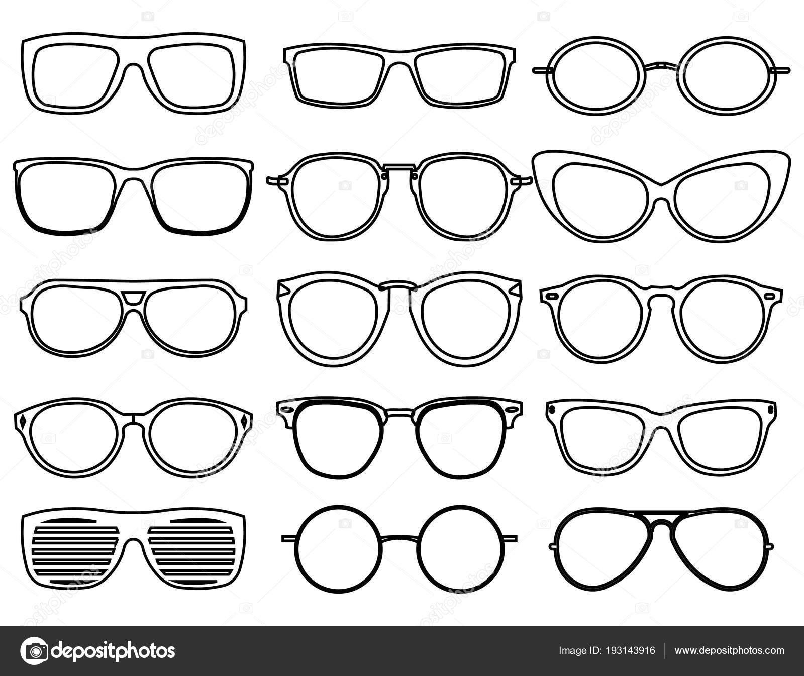 Línea de gafas de los iconos. Usar gafas de moda, gafas de sol de ...