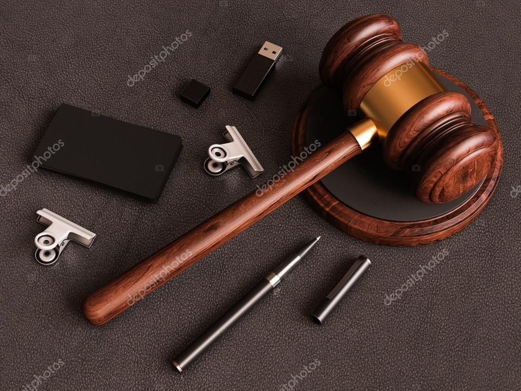 Judge\'s gavel, smartphone, business card on leather substrate. 3D ...
