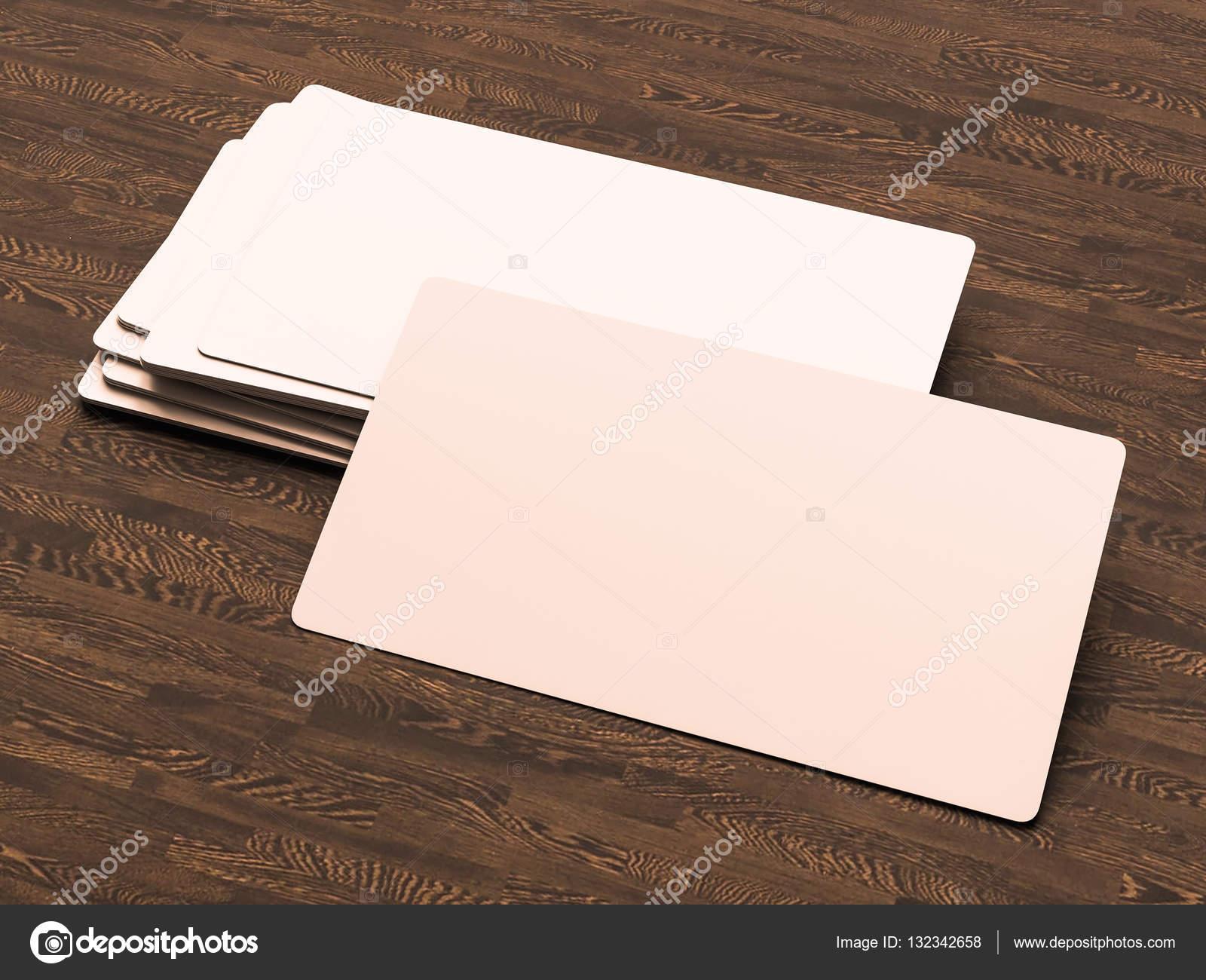 Visitenkarten Auf Holz Hintergrund 3d Illustration