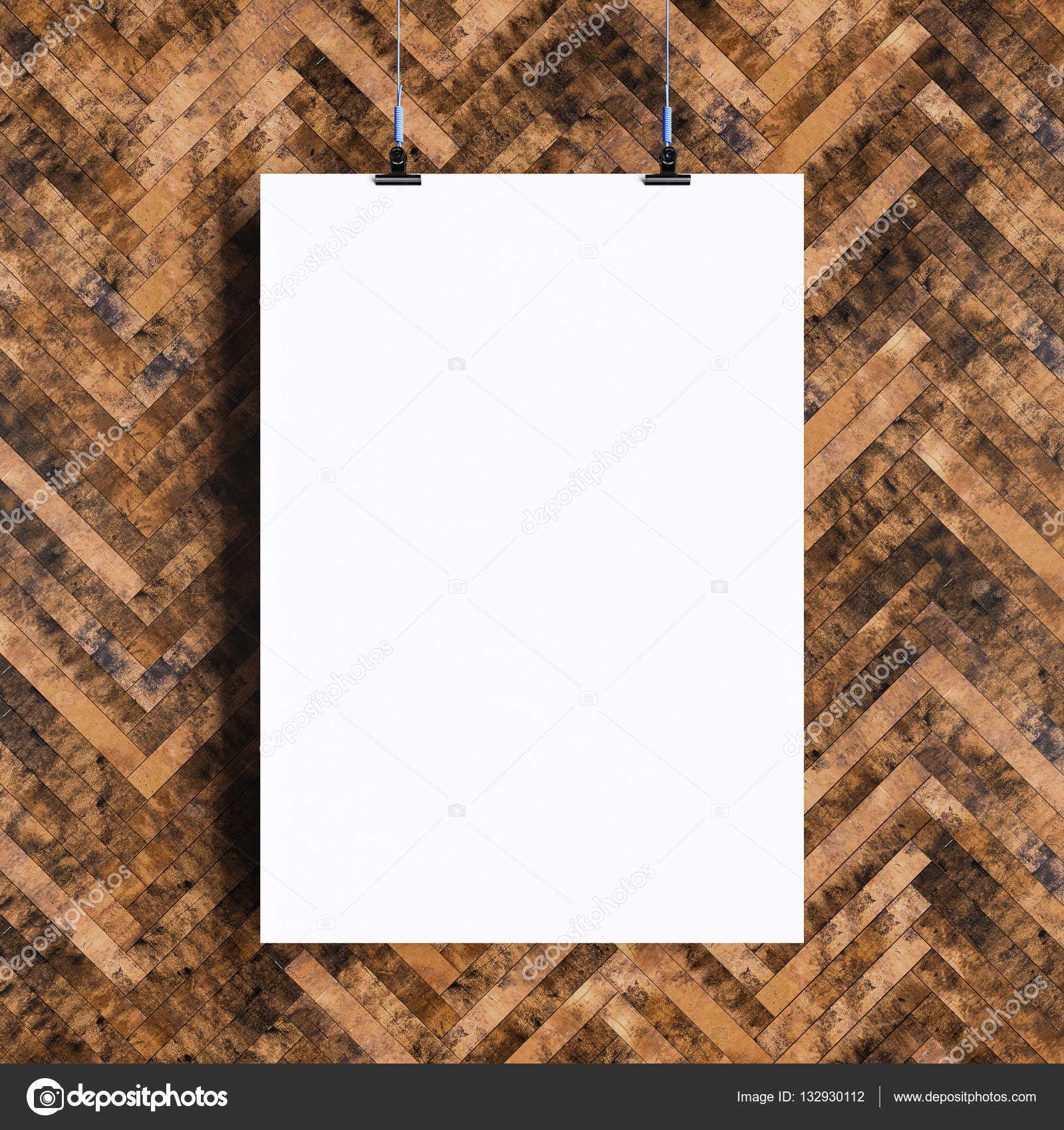 paper blank poster template hanging over wall 3d illustration