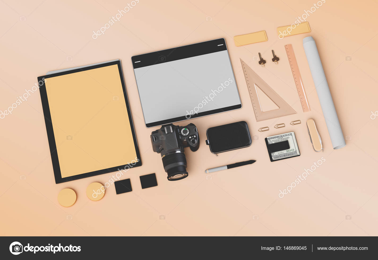 supplies illustration branding high shutterstock office image gadgets stock quality photo mock d up