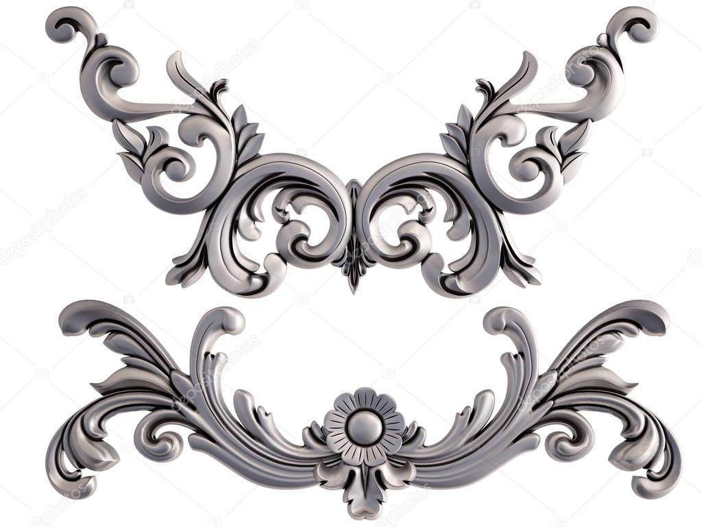 Chrome ornament on a white background. Isolated