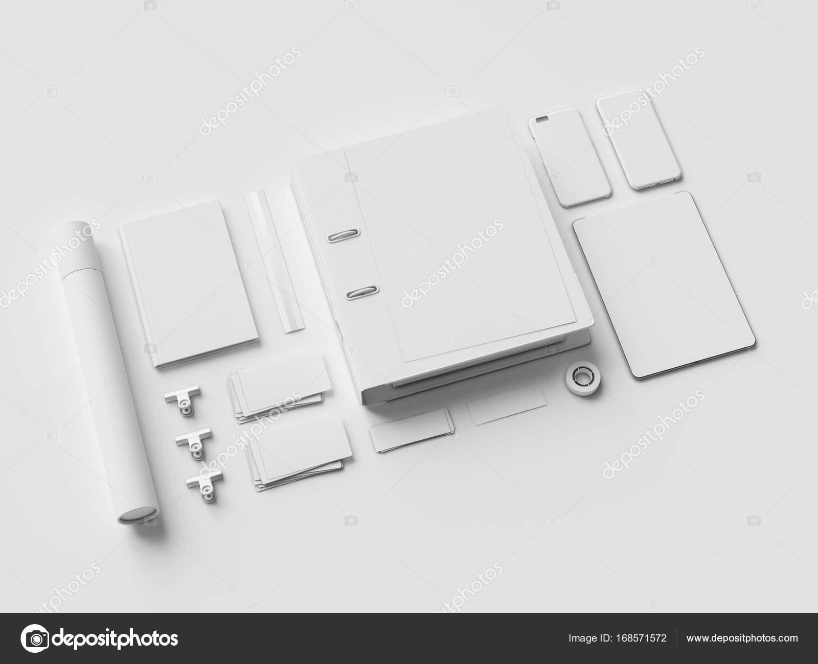 Papeterie blanc & maquette de marque. fournitures de bureau gadgets
