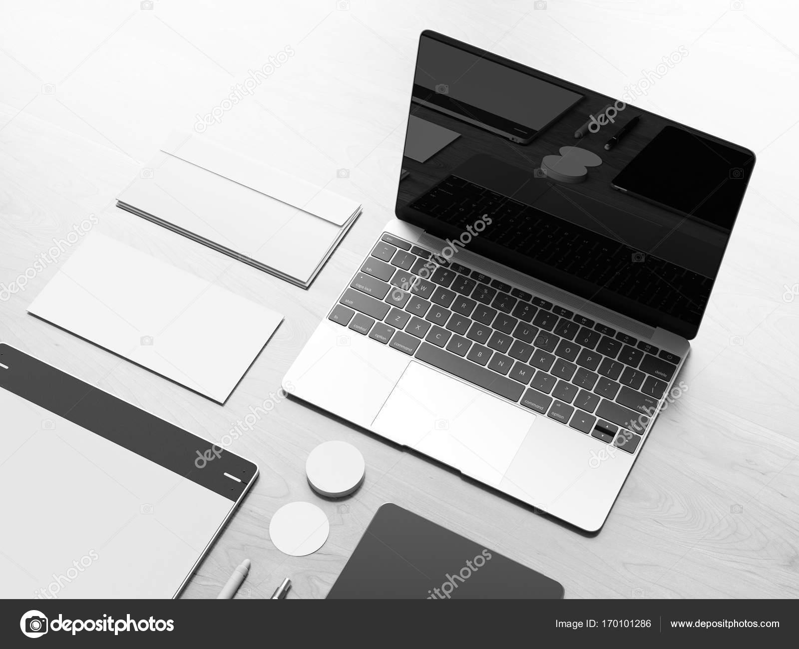 Bürogestaltung corporate Mock-up schwarz und weiß. 3D illustration ...