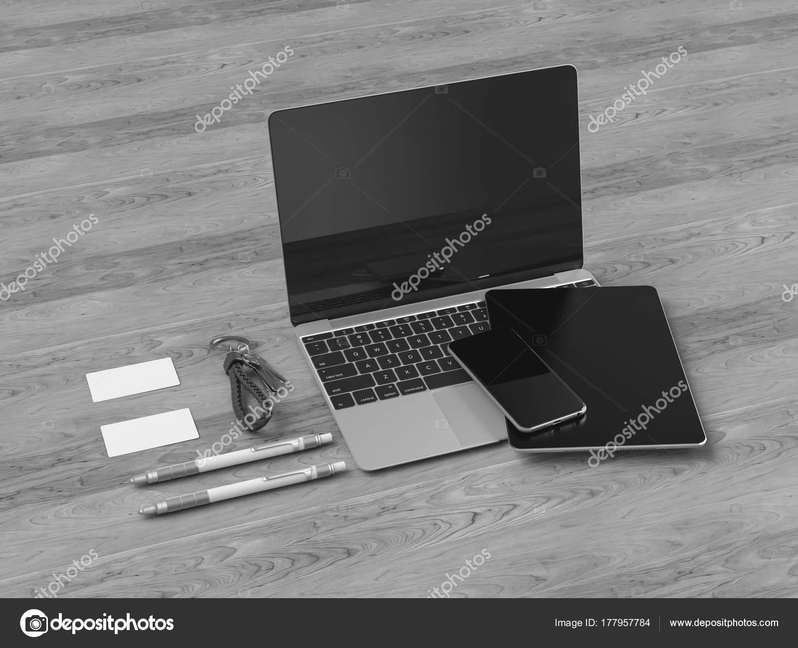 Schwarz / weiß Corporate Identity. Mock-Branding. Büromöbel und ...