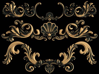 Bronze ornament on a black background. Isolated. 3D illustration stock vector