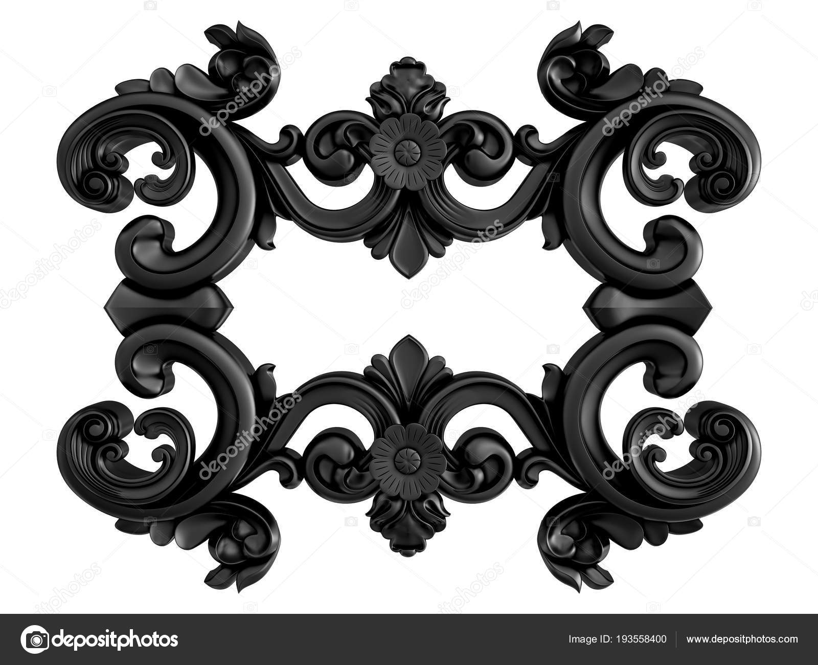 Black Ornament On A White Background Isolated Stock Photo
