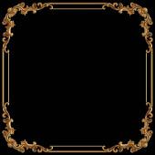 Zlatý ornament. vzor na černém pozadí. luxusní řezbářská výzdoba. Izolované