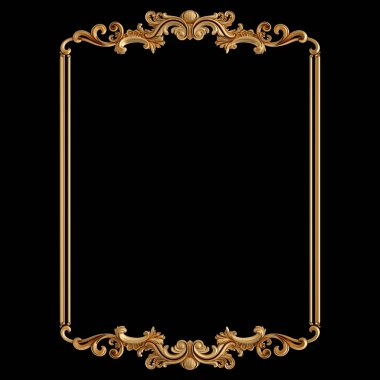 Golden frame ornament. pattern on a black background. luxury carving decoration. Isolated. 3D illustration stock vector