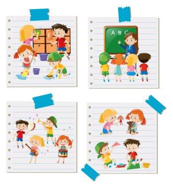 Children doing different activities together