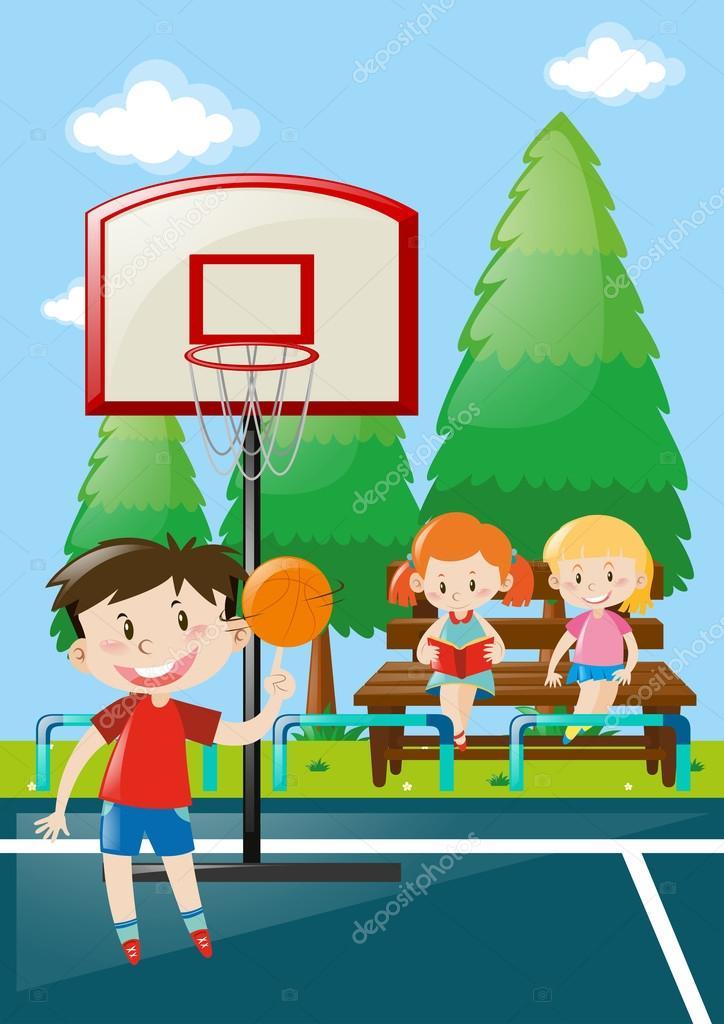 Molti Bambini Al Campo Da Basket Vettoriali Stock Brgfx 127183194