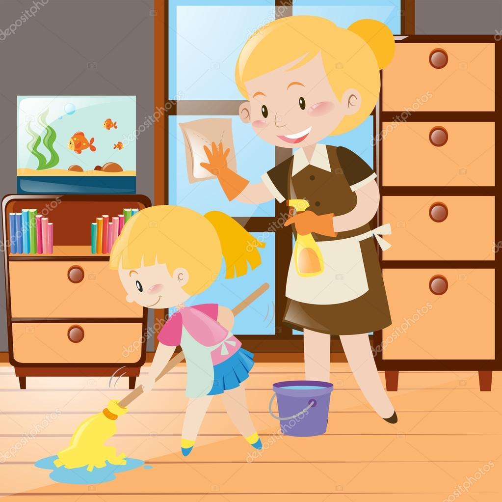 Madre e hija, limpiar la casa — Archivo Imágenes Vectoriales © brgfx ...