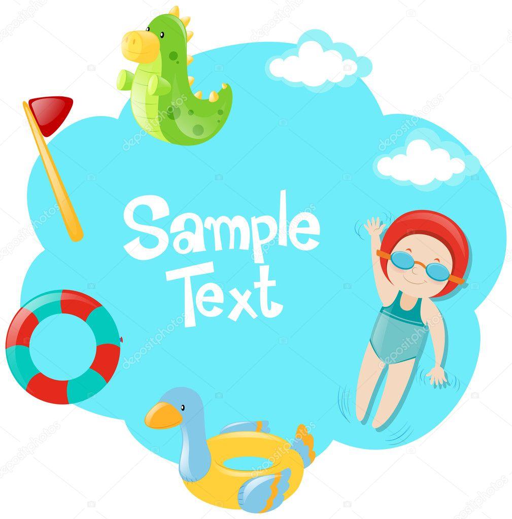 Papier-Vorlage mit Kind schwimmen — Stockvektor © brgfx #127184192