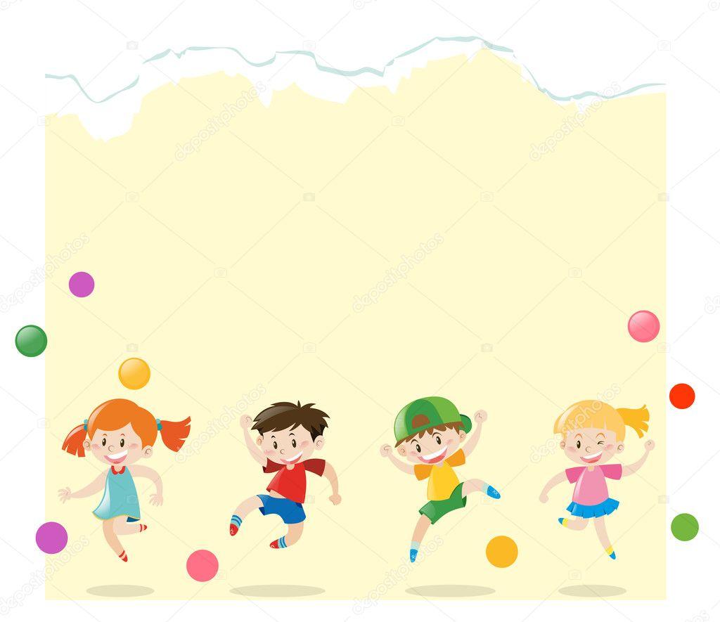 Plantilla de papel con los niños jugando bolas — Archivo Imágenes ...