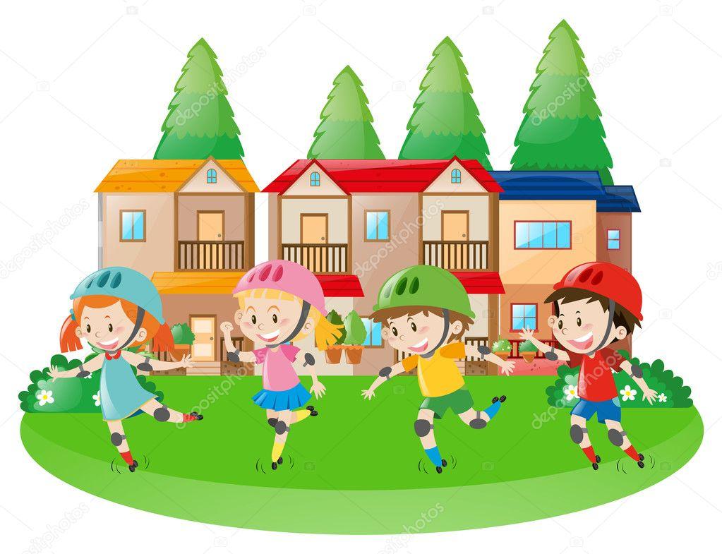 Vier Kinder Rollerskating in Nachbarschaft — Stockvektor © brgfx ...