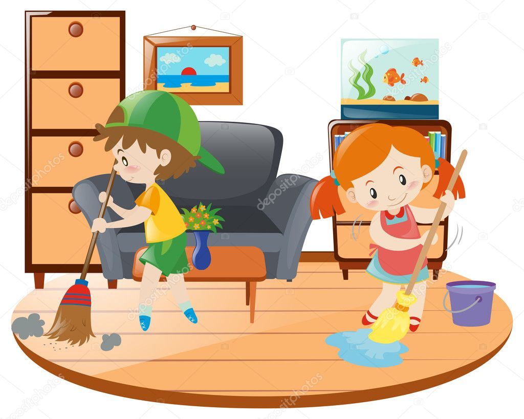 Clip Art Kids Cleaning Room
