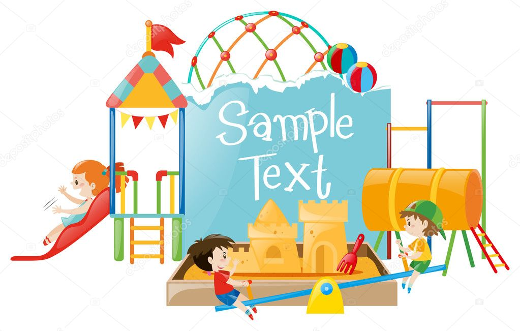 Modello Di Carta Con I Bambini Al Parco Giochi Vettoriali Stock