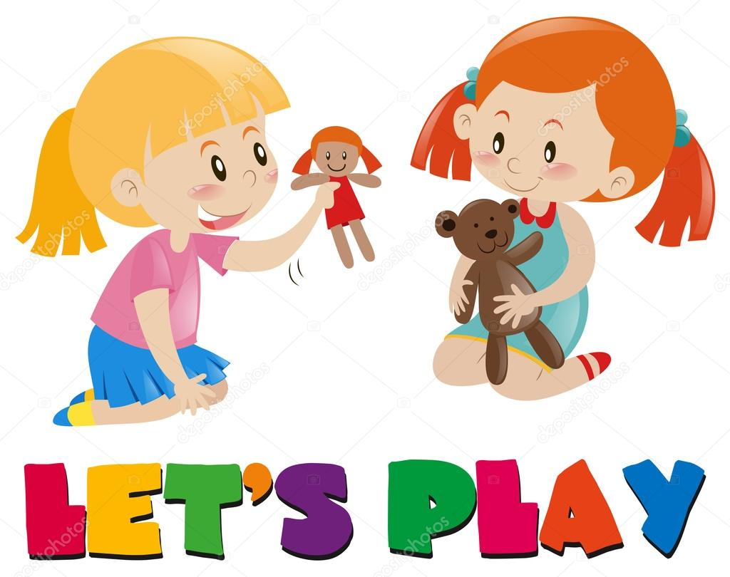 Two Girls Playing With Dolls  Stock Vector  Brgfx 127186414-9839