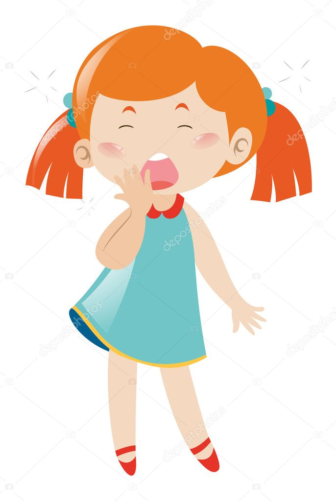 Сонная девушка зевает на белом фоне — Векторное ... Yawning Girl Cartoon