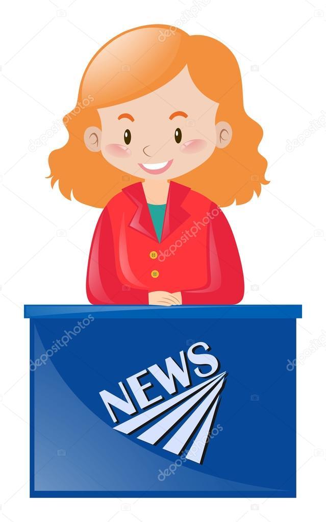 Female News Reporter At Desk Stock Vector