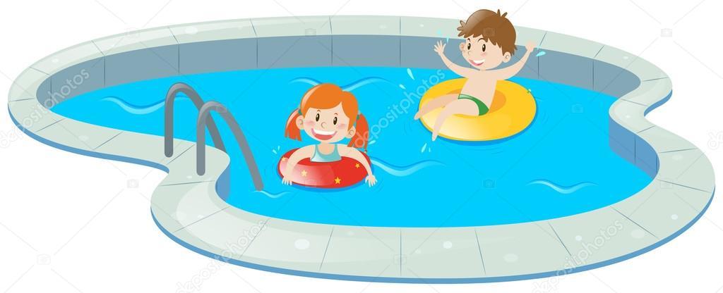 Duas crian as na piscina vetor de stock brgfx 127189756 - Clipart piscine ...