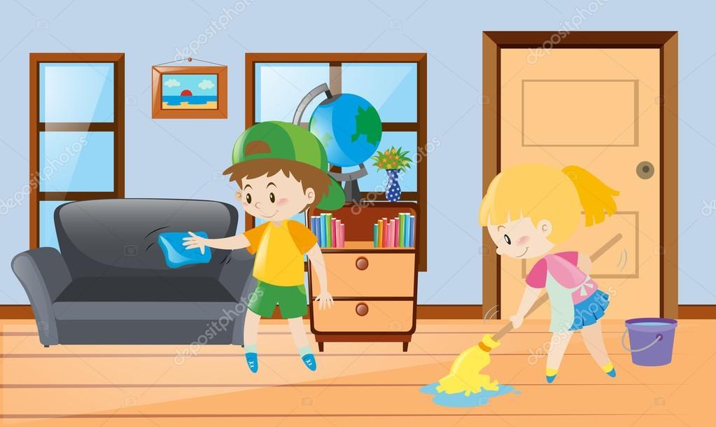 Chico y chica de limpieza de la casa — Archivo Imágenes Vectoriales ...