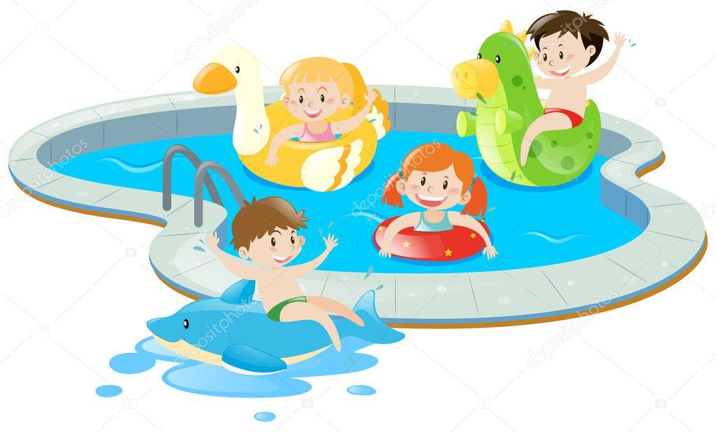 Quattro bambini che si divertono in piscina vettoriali - Clipart piscine ...