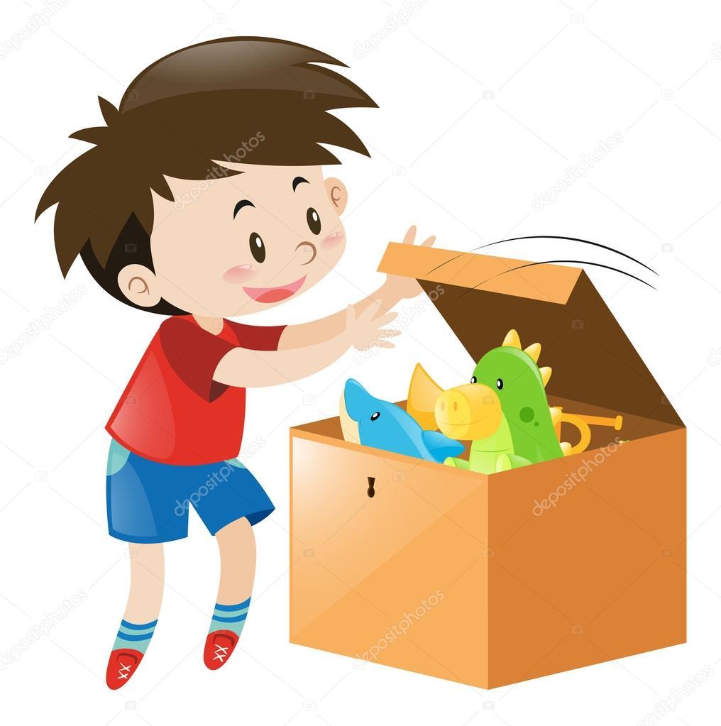rapaz abrir a caixa cheia de brinquedos vetor de stock brgfx 127195418. Black Bedroom Furniture Sets. Home Design Ideas