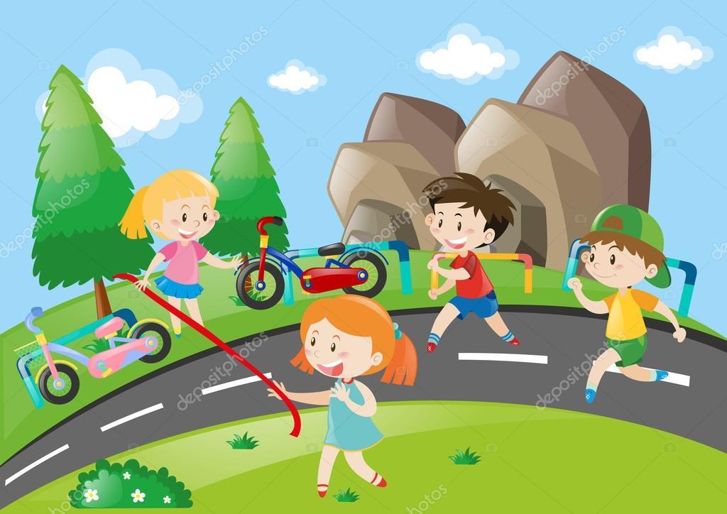 Disegno Di Bambino Che Corre : Bambini che corrono nel parco u2014 vettoriali stock © brgfx #127197044