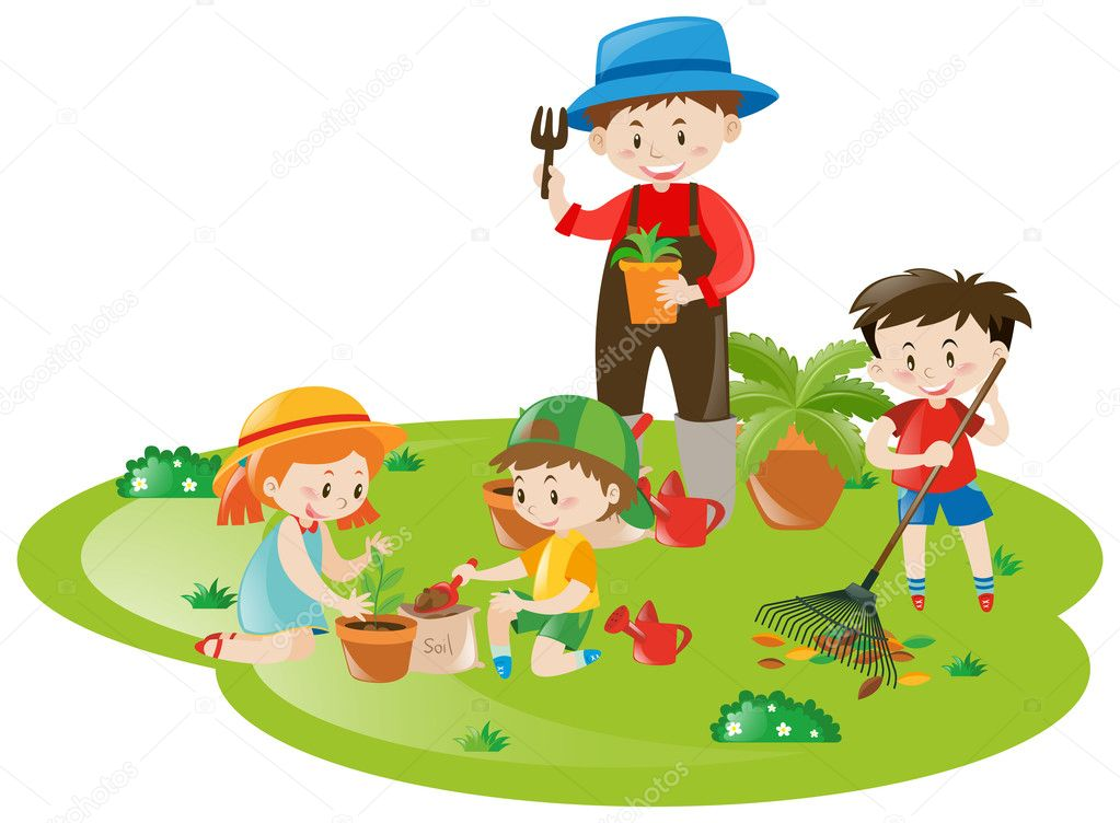 gardener and many children working in garden stock vector brgfx 127197436. Black Bedroom Furniture Sets. Home Design Ideas