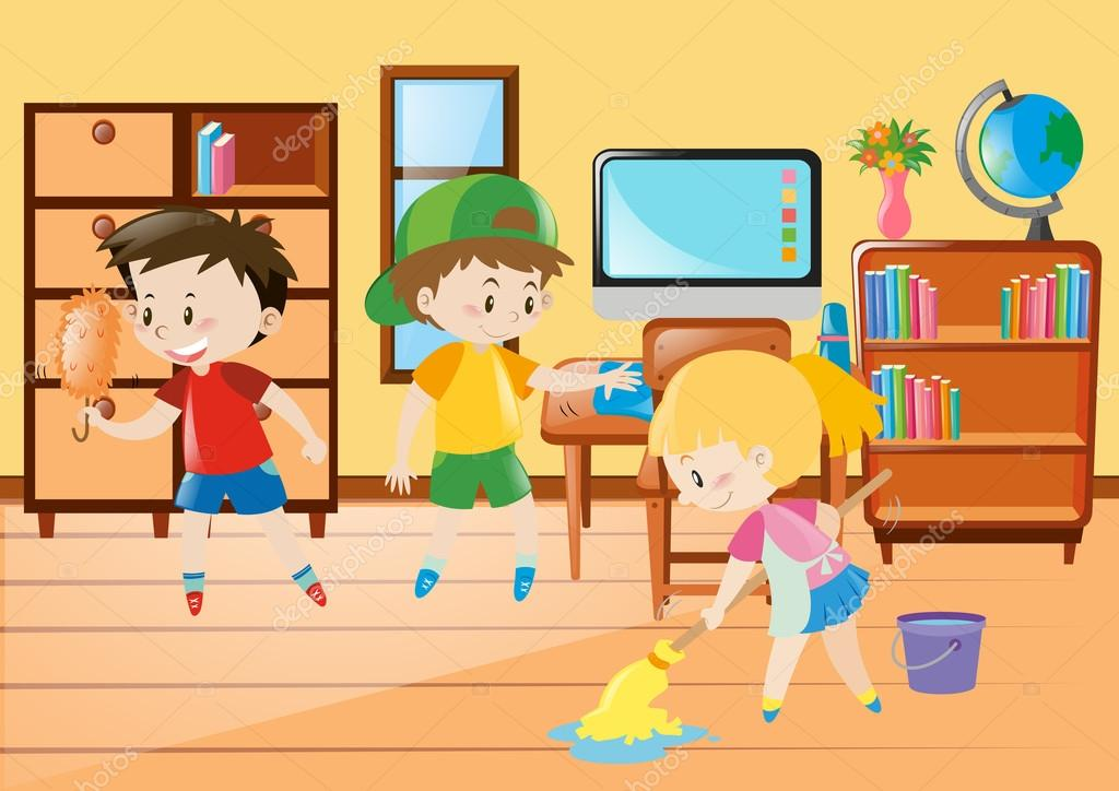 Three kids cleaning classroom — Stock Vector © brgfx ...